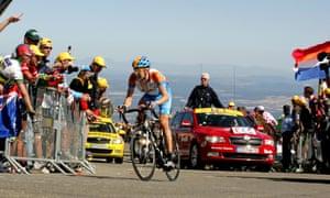 Bradley Wiggins tackles Mount Ventoux during the Tour de France.