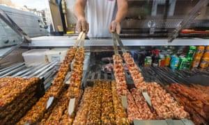 Kebabs ready for cooking at Super Ocakbasi
