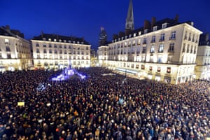 A rally at the Place Royale in Nantes, in western France, on January 7, 2015