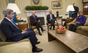 President Barack Obama meets with from left, Secretary of State John Kerry and Vice President Joe Biden and National Security Adviser Susan Rice, in the Oval Office of the White House in Washington, Wednesday, Jan. 7, 2015.