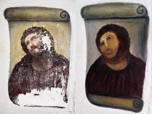 The original of Ecce Homo and Gimenez's restoration.