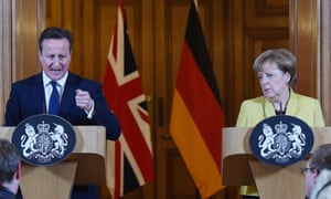 British Prime Minister David Cameron with German Chancellor Angela Merkel during a press conference in Downing Street in London