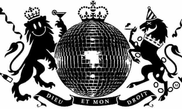 Illustration by Joe magee: coat of arms as glitter ball