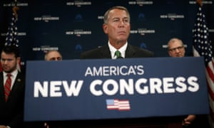 Speaker of the House John Boehner answers questions during a press conference at the US Capitol in Washington DC on 7 January 2015.