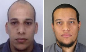 Pictures released by French police in Paris show Cherif Kouachi, 32, left, and his brother Said Kouachi, 34, right, suspected in connection with the shooting attack at the satirical French magazine Charlie Hebdo.