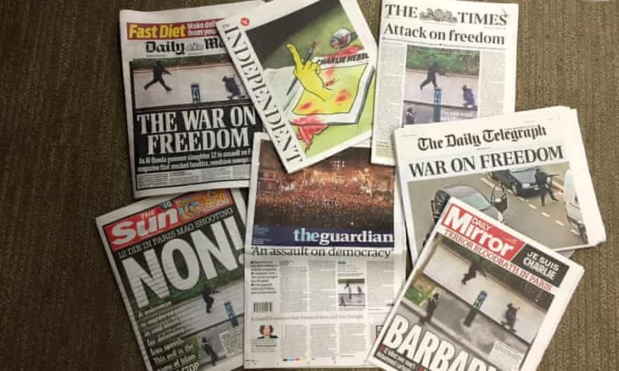 How the UK national papers covered the Charlie Hebdo attack.