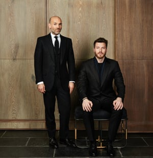 Rick Edwards (sitting), wearing Gieves & Hawkes SS15, with Jason Basmajian, the label's creative director.