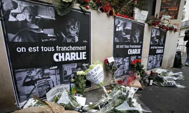 Flowers outside the offices of Charlie Hebdo