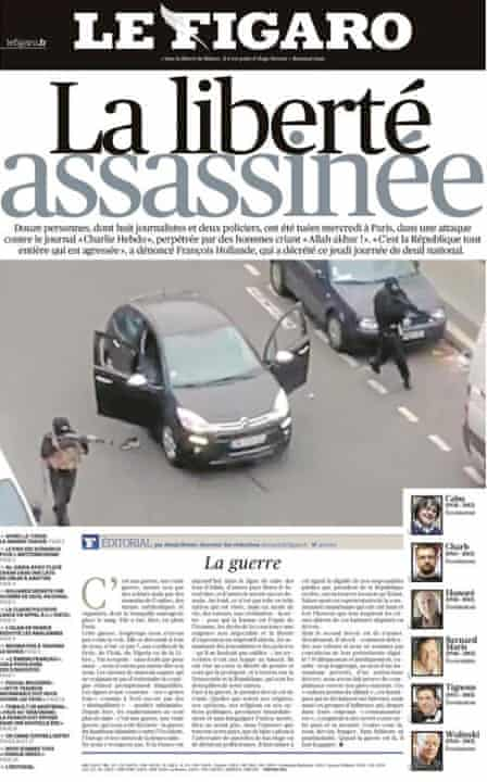 front-page of le Figaro on the Charlie Hebdo attack
