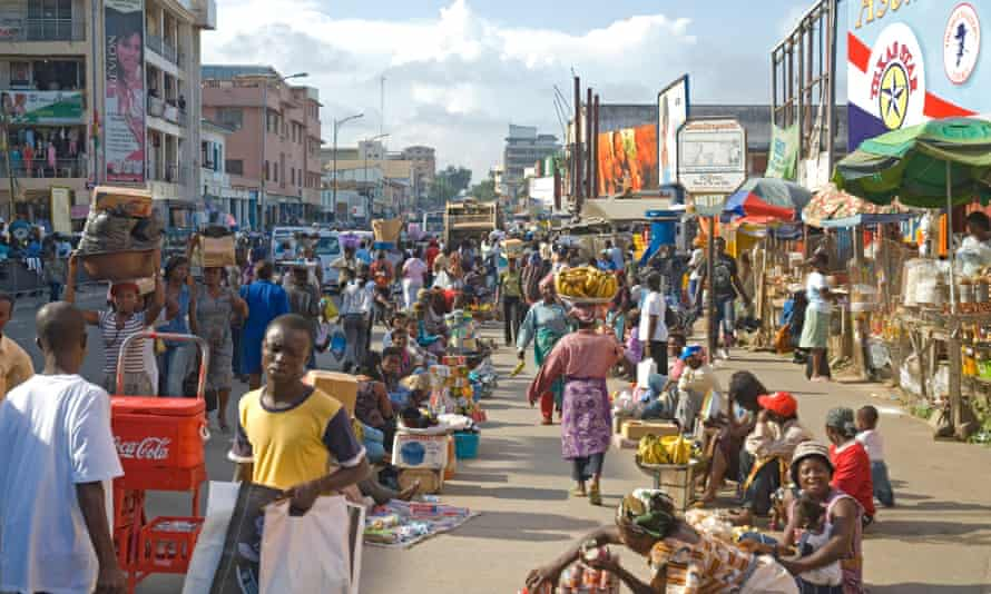 A busy retail street in Accra, Ghana