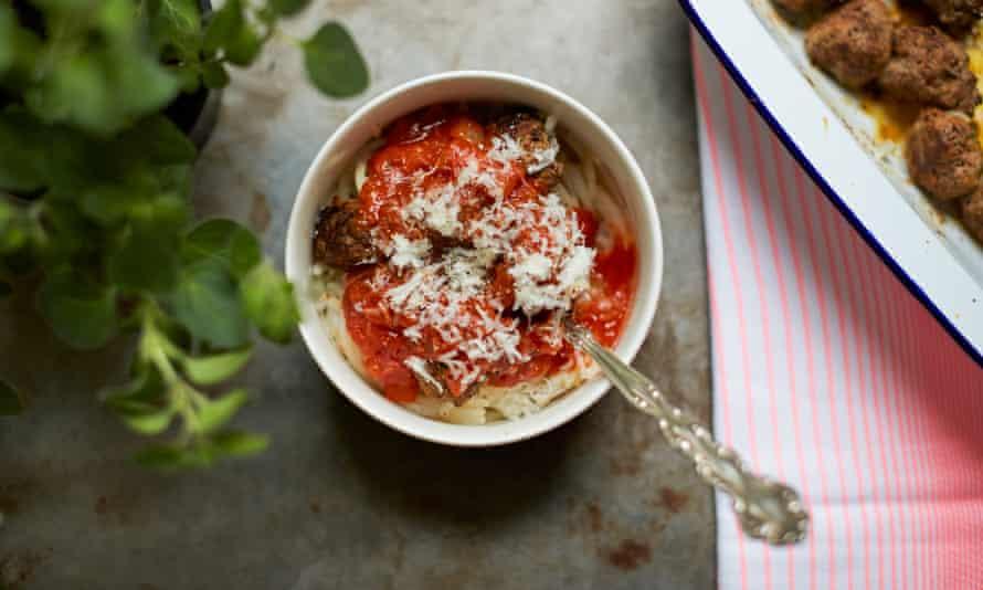 meatballs on vegetable spaghetti