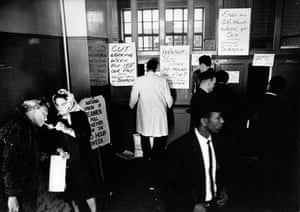 Union office, Ensign Street, Stepney, May 1966. This photograph by David Newell Smith shows the scene within a union office as members of the National Union of Seamen, including ship's laundry workers collected their £3 strike money. Seamen were striking at the time to reduce the working week from 56 hours to 40.