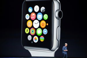 Apple CEO Tim Cook speaks during the launch of the Apple Watch.