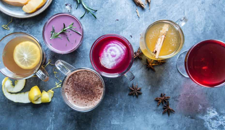From left to right: Earl Grey hot toddy, Milk of the Land, pure drinking chocolate, warm beetroot juice, quince mulled cider and spiced hibiscus tea.