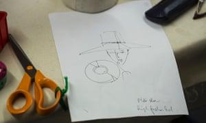 A sketch in Stephen Jones' workroom.