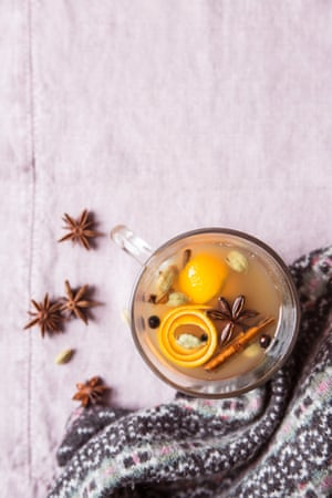 Mulled spiced apple juice. Try adding 25ml per person of cider brandy or cider gin to this  for something more boozy.