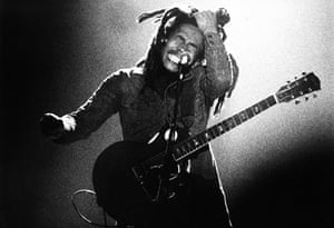 Bob Marley performs live on stage with the Wailers in in 1976