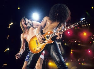 Axl Rose and Slash of Guns N Roses perform live at Rock In Rio II in 1991
