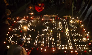 Candles spell out the words 'Je Suis Charlie'