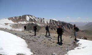 Kevin Rushby and group on the Ton Pass, the highest mountain in Kyrgyzstan.