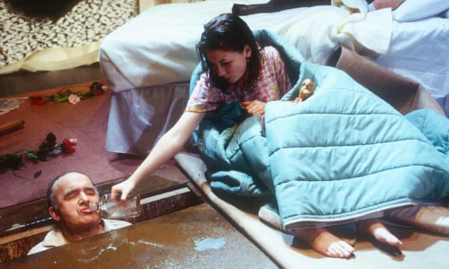 Pip Donaghy as Ian and Kate Ashfield as Cate in Sarah Kane's Blasted at the Royal Court in 1995.