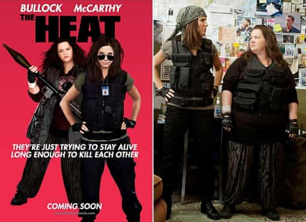 Poster for The Heat (left) and Melissa McCarthy as she looked in the film (right).