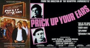 The UK poster for Prick Up Your Ears (right) and the US version.