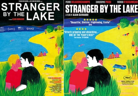 The original Stranger by the Lake poster (left) and the version for London Underground with shorts and man doing press-ups.