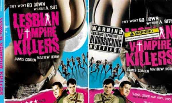 Lesbian Vampire Killers DVD cover (left) and the version for supermarkets (right).