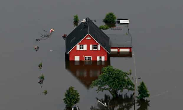 A house is inundated by the Elbe