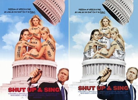 Shut up & Sing Film poster (left) and with added towels (right).
