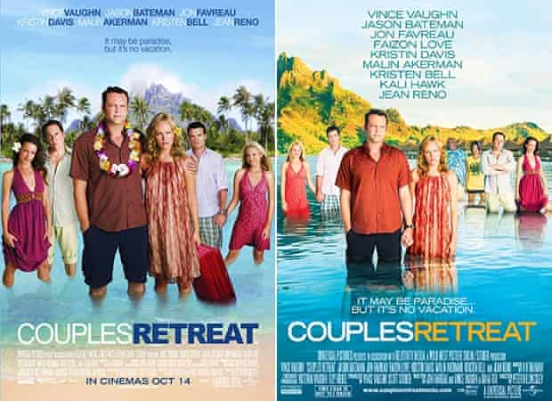 Couples Retreat film poster without Faizon Love and Keli Hawk (left) and with (right).