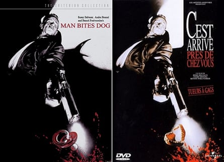 Man Bites Dog film poster with dummy (left) and with false teeth (right).