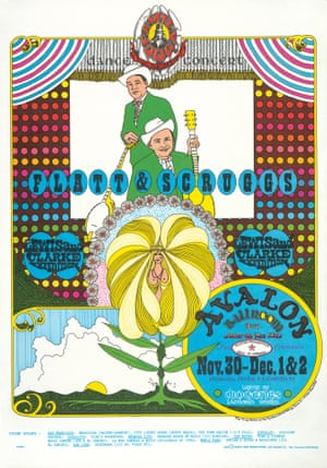 Flatt and Scruggs Avalon Ballroom concert poster, 1967, by Doyle Phillips (aka Lemonado de Sica). By 1966, psychedelia was everywhere. But this poster mixed it with an 'old-timey' aesthetic to reflect the musicians' bluegrass sound and appeal to the counterculture's desire for authenticity.