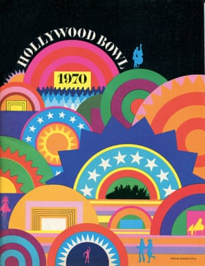 Hollywood Bowl program, 1970, by Deborah Sussman. Sussman used a shell motif for this design to reflect the venue's closeness to the beach and shell-like protection from the elements.