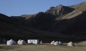 A Kyrgyz yurt camp where the group stayed.