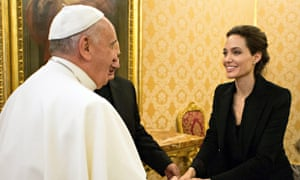 Angelina Jolie meets Pope Francis