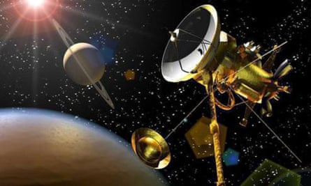 An artist's impression of the Huygens probe descending towards Saturn's moon Titan after being released from the Cassini orbiter