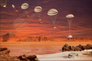 An artist's impression of the Huygens probe's descent sequence as it falls towards the surface of Saturn's moon Titan.
