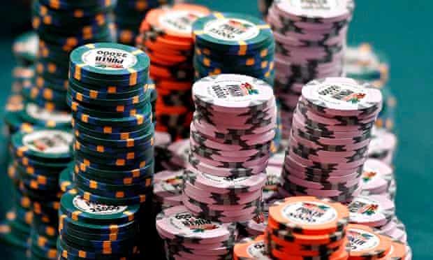 Poker chips piled high