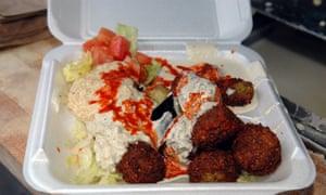 Styrofoam falafel platter from a food cart in New York. RIP.