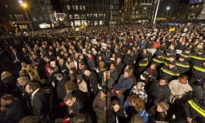 Approximately 18.000 people gather in support of the victims after the terrorist attack in Paris on January 8, 2015 in Amsterdam, Netherlands.