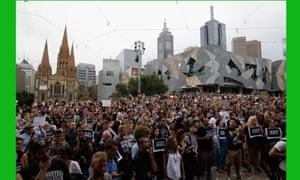 A vigil for victims of the Paris massacre at Federation Square on January 8, 2015 in Melbourne, Australia.