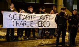A rally in solidarity with the killed Charlie Hebdo employees, in Salzburg, Austria, 08 January 2015.
