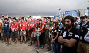 Charlie Hebdo tributes: The Dakar Rally in Antofagasta, Chile
