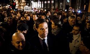 Charlie Hebdo tributes: The Dutch prime minister, Mark Rutte, in Amsterdam