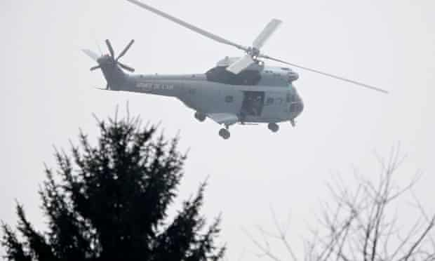 French air force helicopter in Dammartin-en-Goele, north-east of Paris