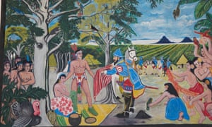 Rivas town wall mural shows first encounter between Spanish colonisers and indigenous tribe on short of Lake Nicaragua.