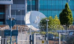 A satellite dish at Government Communications Headquarters (GCHQ) in Cheltenham