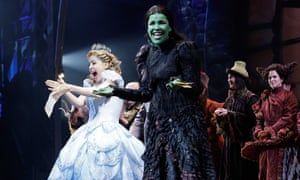 Green light … Alli Mauzey and Lindsay Mendez attend the curtain call at Wicked celebrates 10 years on Broadway in 2013.
